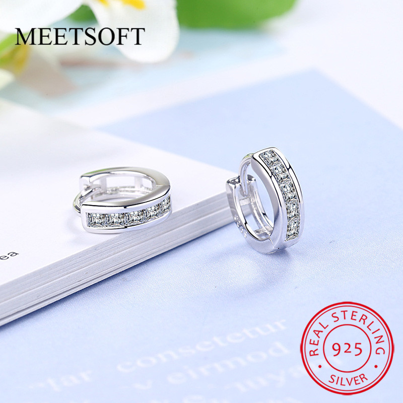 925 Sterling Silver Prevent Allergy Hoop Earrings for Women Trendy Design Small Circle Unisex Crystal Jewelry Gift