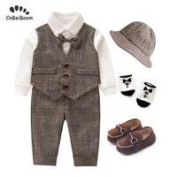 Boy Baby Formal Gentleman Suit Cap+Vest rompers+Pants+shoes+socks 5Pcs Set Children Long Sleeve Outfits Kid Clothing Set dress