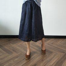 Johnature – pantalon à jambes larges pour femme, couleur unie, ample, élastique, longueur aux genoux, confortable, en coton et lin, nouvelle collection été 2021