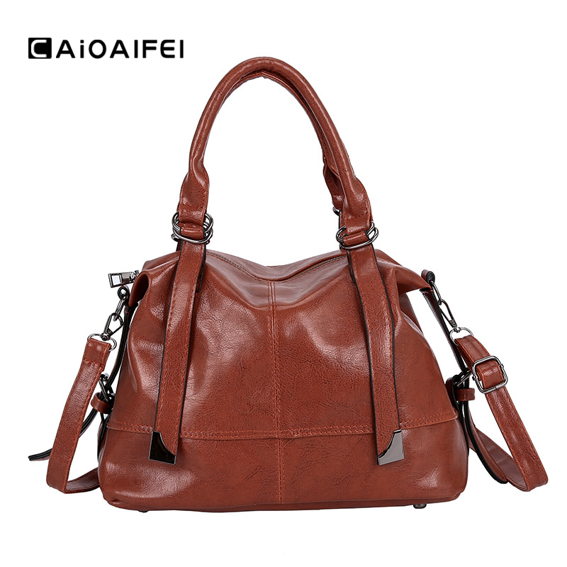CAIOAIFEI Retro Patchwork Women Luxury Handbags Oil Wax Leather Female Tote Bags Fashion Women Shoulder Crossbody Messenger Bag
