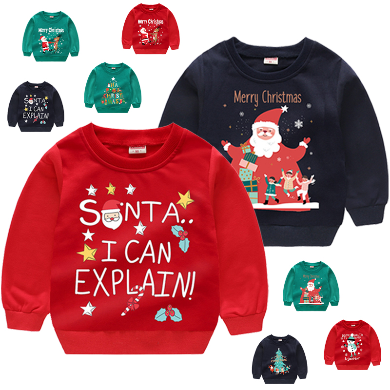 Baby Boy Clothes Multiple Styles Cartoon Christmas Pattern Kids Pullover Casual Loose Boy Sweatshirt 2-7 Years Old Kids Clothes