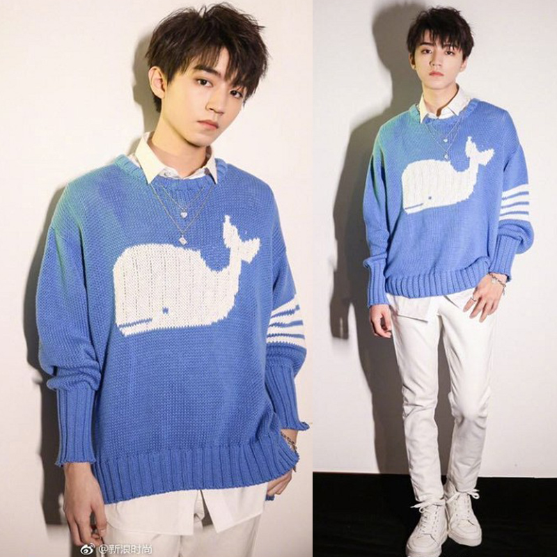 TFBOYS Wang Junkai Style Women Men Whale Dolphin Blue Sweaters Pullovers Students Winter Knitted Sweater Tops Clothes