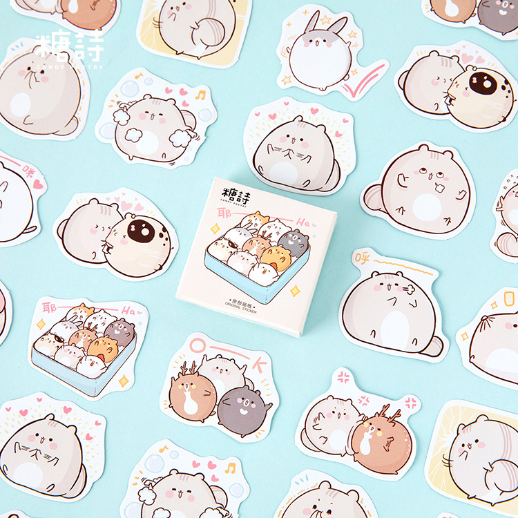 Mohamm 45PCS Box Stickers Fat Mouse Creative Cute Cartoon Animal Sticker Flakes Scrapbooking Gift Girl School Supplies