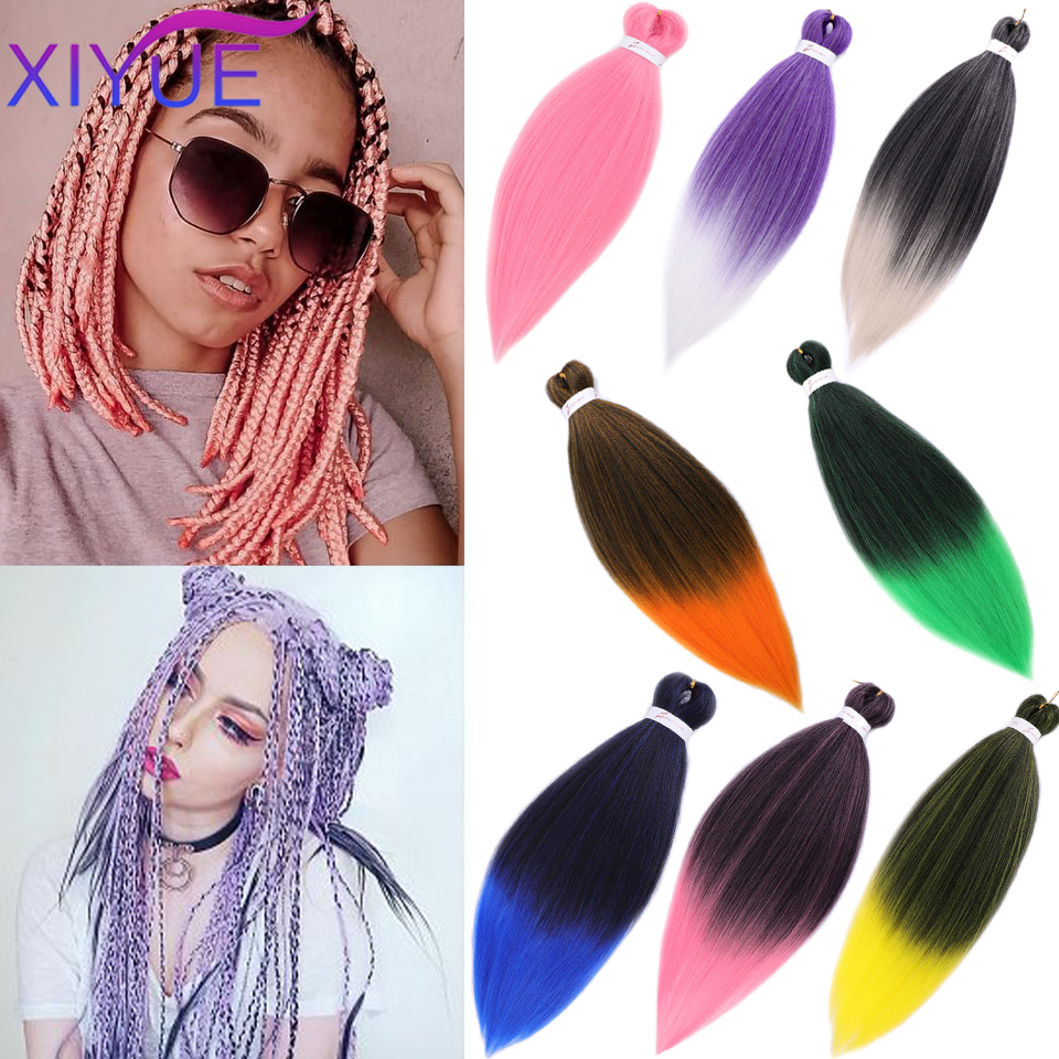 XIYUE Synthetic Pre Stretched Braiding Hair For Black Fiber Woven Crochet Hair Extension Professional High Temperature Fiber Hai