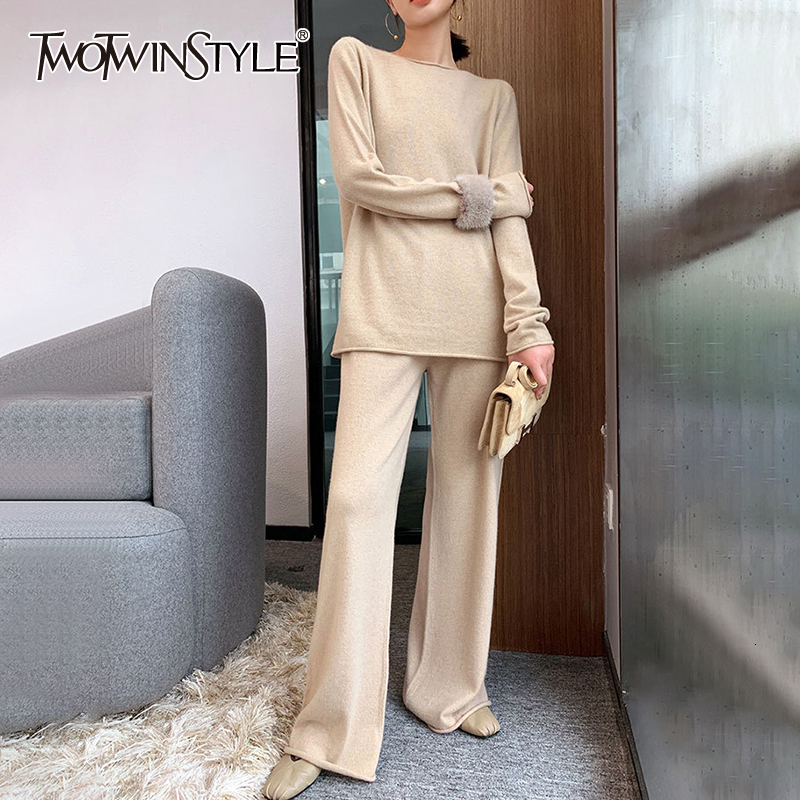 TWOTWINSTYLE Knitted Two Piece Set For Women O Neck Long Sleeve Sweater High Waist Wide Leg Pants Female Suits 2019 Autumn New