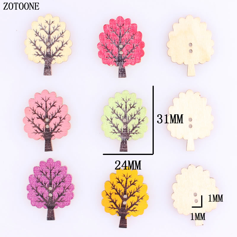 ZOTOONE 100pcs Mix Random Colorful Trees Shaped Wooden Buttons 2 Holes Scrapbooking Products Sewing Craft for Kids A