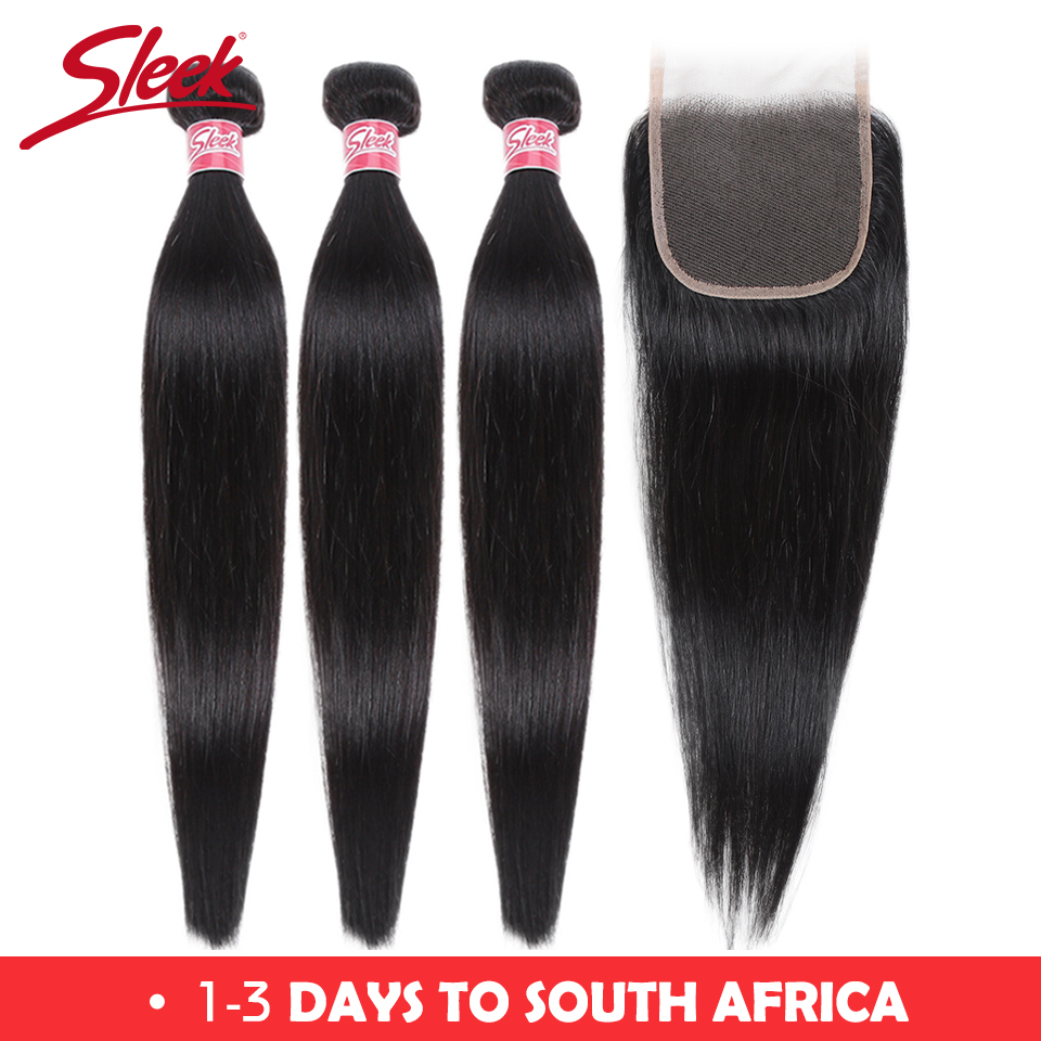 Sleek Brazilian Straight Hair Bundles With Closure Natural Color Hair Weave 8-28 30 Non Remy Human Hair 3 Bundles With Closure