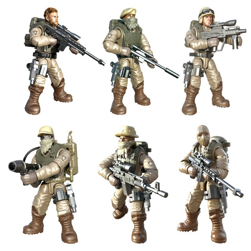 ABS Soldier Joint Movable Blocks Military Field Man Puzzle Blocks Toy Boy Gift Assembly Assembled Child Birthday
