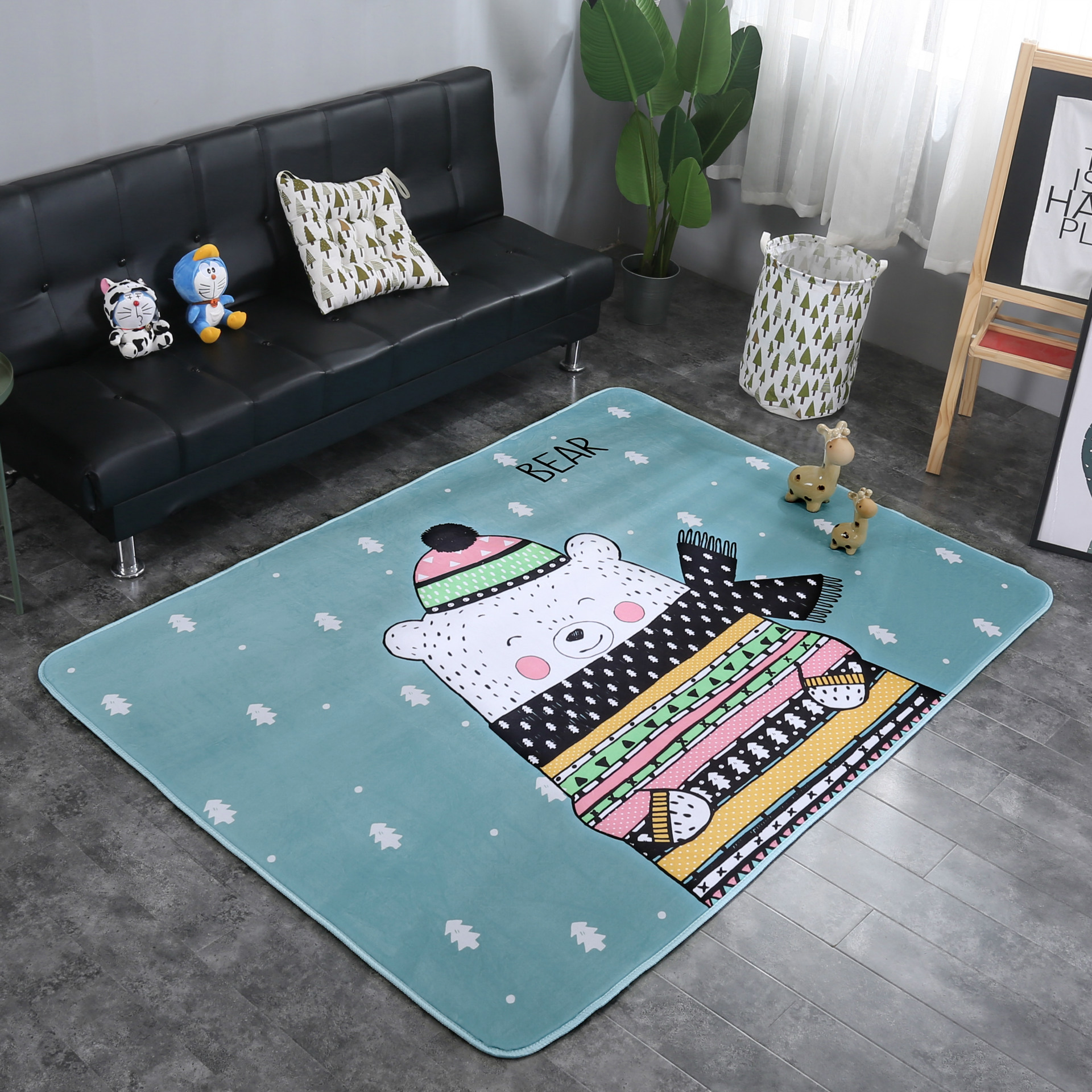 Nordique nouveau dessin animé mode tapis salon chambre tapis décoratif yoga pique-nique enfants escalade tapis antidérapant imperméable tapis