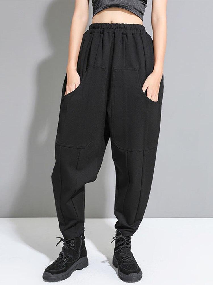 XITAO Pants Women Cold-Harem-Pants Pleated Elegant High-Waist Pocket Elastic Black Wind