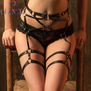 Image 1 - PU Leather Sword Belt Waist Garter Handmade Body Bondage Sexy Leg Suspenders Restraints Harness Erotic Stockings Boogeaneel