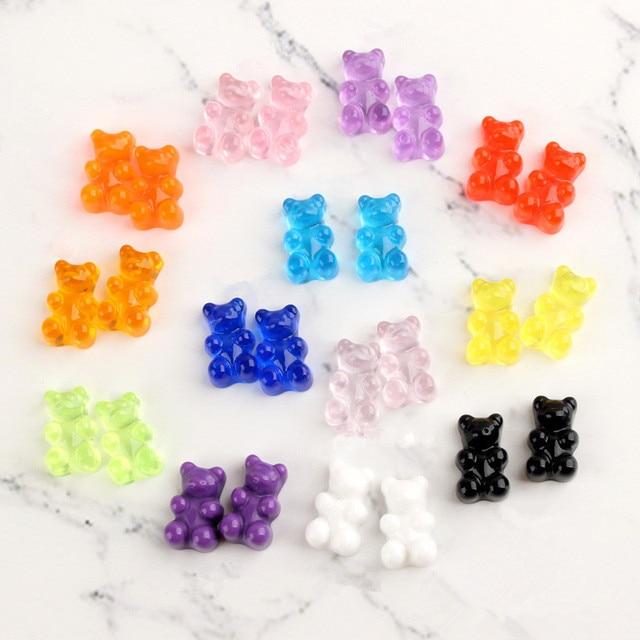 20-100Pcs Cute Bear Flat Back Planar Resin Color DIY Crafts Supplies Phone Shell Patch Decor Arts Material Kids Hair Accessories