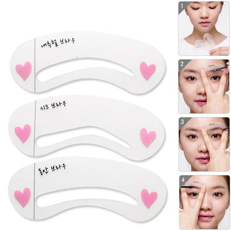 3 Pcs Reusable New Eyebrow Template Stencil Tool Makeup Eye Brow Template Shaper Make Up Tool Eye Brow Guide Template DIY Beaut
