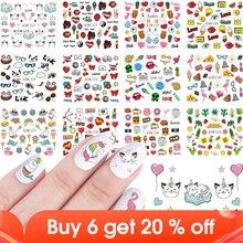 12pcs Nail Stickers Cartoon Cute Water Transfer Sticker Flamingo Cat Sweet Summer Food DIY Decals Manicure Stencil JIBN1273 1284
