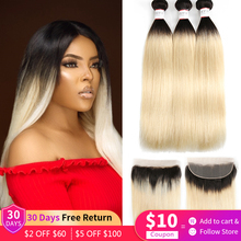 Ombre Honey Blonde 1B 613 Straight Hair 3 Bundles With 13x4 Lace Frontal Brazilian Remy Human Hair Bundles With Closure Frontal