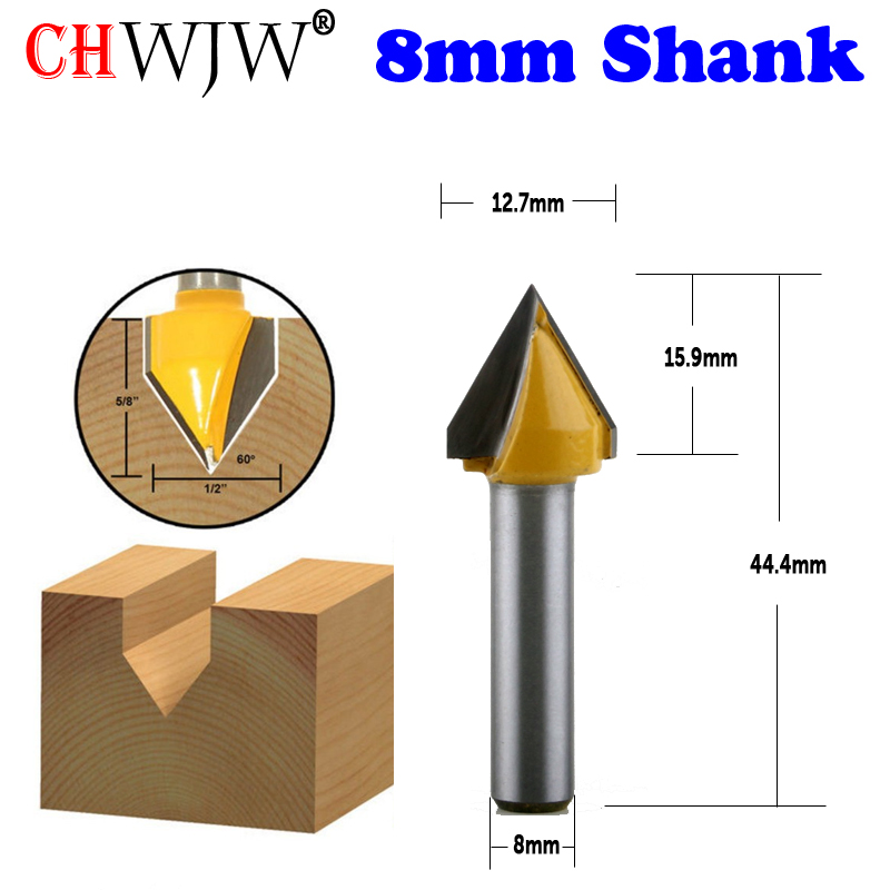 CHWJW 1PC 8mm Shank 60° V-Groove Router Bit - 1/2