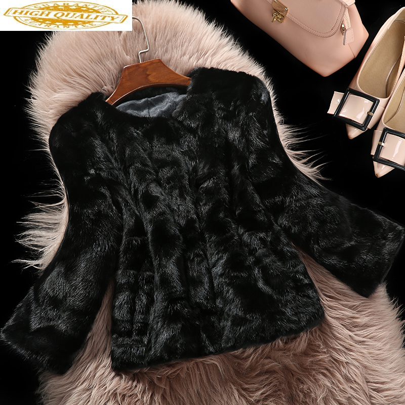 2020 Luxury Real Fur Coat Natural Mink Fur Coats For Women Pieces Patchwork Luxury Winter Warm Jacket Plus Size 16PD5023