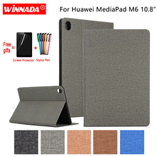 For Huawei MediaPad M6 10.8 case linen grain PU leather Stand Protective Case TPU Cover for HUAWEI tablet M6 10.8 inch Coque for huawei 10 1 inch tablet fashion stand protective case for huawei mediapad 10 fhd link pu leather cover