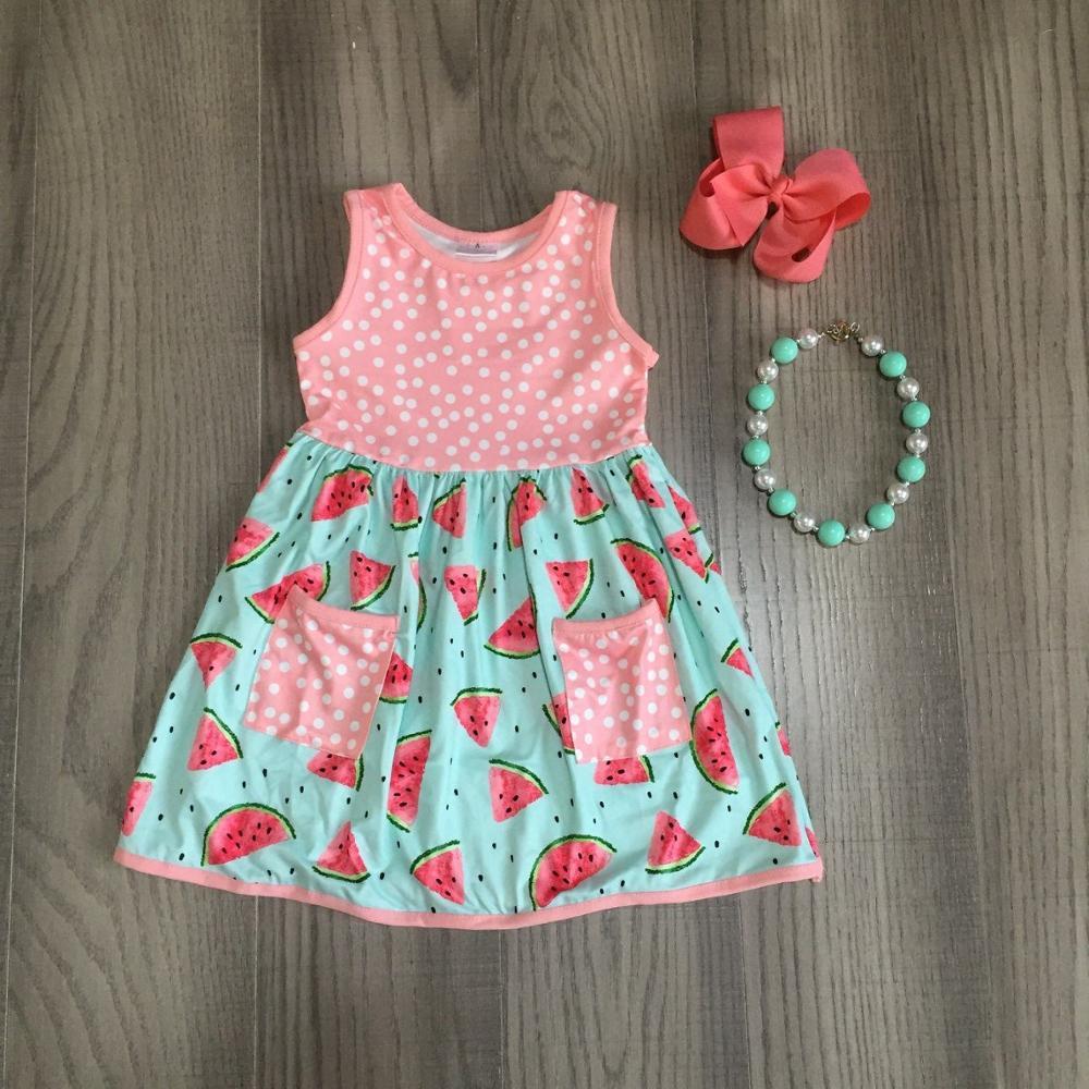 Baby Girls Summer Dress Girls Coral Dress Children Girls Watermelon Dress With Accessoreis