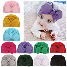 Bowknot Winter Hat Newborn Baby Boys Girls Solid Soft Comfy Toddler Photo Props Cap newborn photography props czapki dla dzieci(China)