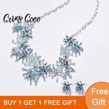 цены Cring Coco 2020 New Arrival Unique Design Coral Shape Necklaces for Women Female Trendy Blue Enamel Alloy Choker Necklace Girls
