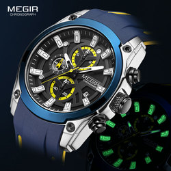 MEGIR Men's Military Sport Watches Men Waterproof Fashion Blue Silicone Strap Wristwatch Man Luxury Top Brand Luminous Watch