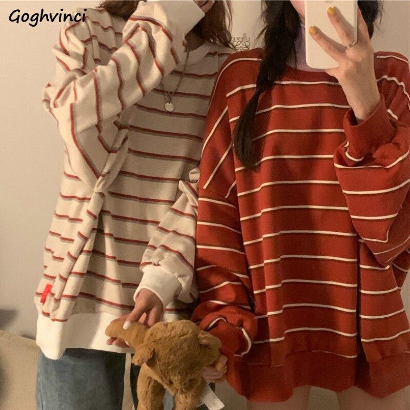 Long Sleeve T-shirts Women Spring O-neck Striped All-match Simple Korean Style Fashion Womens Tops Loose Streetwear Autumn Retro 1