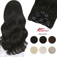 Moresoo Human Hair Clip in Extension 7Pcs Machine Remy Hairpiece for Women Pure Color Full Head Natural Hair Extensions Clips