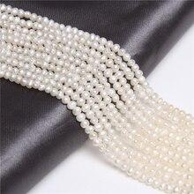 Небольших натуральных пресноводных картофельных жемчужных бусин круглой формы для самостоятельного изготовления ювелирных изделий браслет ожерелье 2-3 мм прядь 14 дюймов