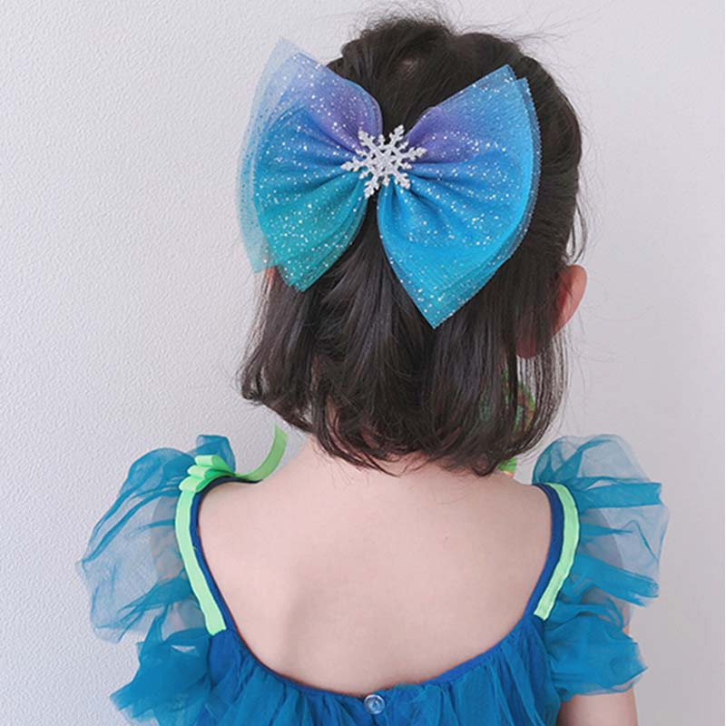 Kids Hair Bows Blue Starry Mesh Hair Clips Snowflake Bows Girls Cosplay Headwear Princess Party Dance Christmas Hair Accessories