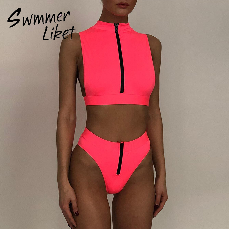 Sexy Zipper Swimsuit Female Neon Bikini Set 2020 High Waist Swimwear Women High Cut Bathers Bathing Suit Summer Beach Wear New