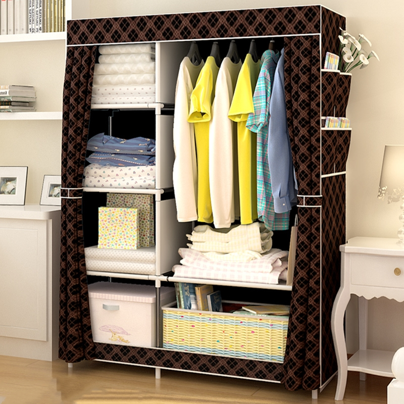 Simple Wardrobe Cloth Wardrobe Steel Pipe Thickening and Reinforcement Assembly Wardrobe Folding Storage Thicken Hanging Cabinet