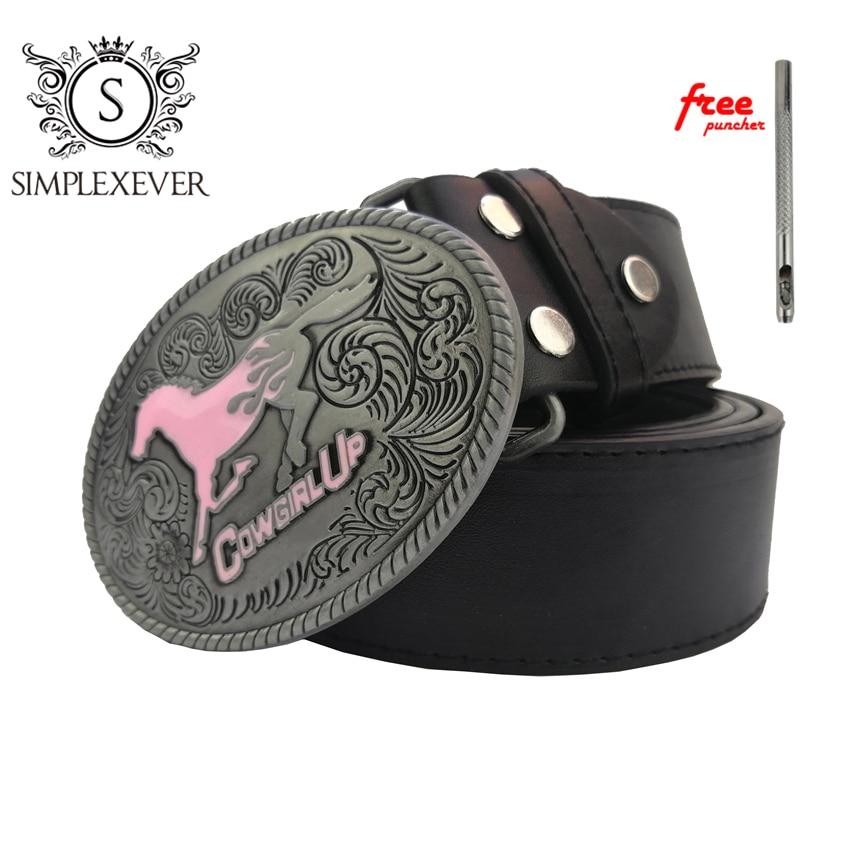 Mens' Belt Buckle Western Fashion Horse Belt Buckle Cowgirl Up Silver Belt Buckle With Belt Drop Shipping