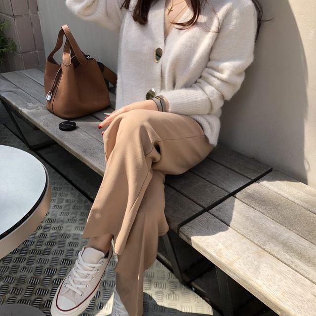 Mooirue Autumn Women Soft White Knitted Cashmere Sweater Double Button Women Warm Jumper V-Neck Winter Sweater 21