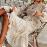 Autumn summer dress women Long sleeve high waist white ruffled long Dress female Vestidos 2019 Vintage beach Women's large Dress