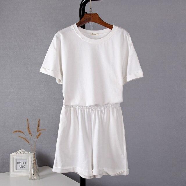 Conjunto Feminino de Algodão Original Hirsionsan com duas peças, camiseta de manga curta e calça curta de cintura alta, roupa esportiva para verão 29