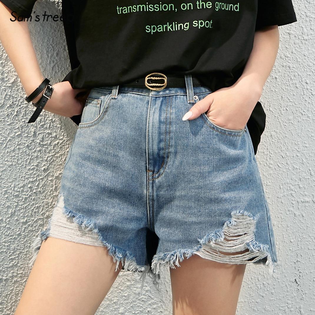 SAM'S TREE Blue Solid Ripped Raw Hem Washed Casual Wide Leg Denim Shorts Women 2020 Summer Pure High Waist Ladies Daily Bottom