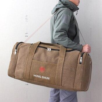 Bolsa de lona masculina para viagem, saco de bagagem de mão multifuncional grande capacidade para o fim de semana de viagem duffel xa243k 1