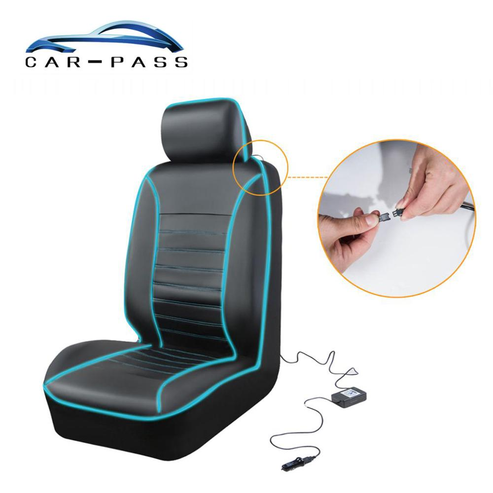 Car-pass Illuminated car seat cover with LED Light Driver Seat Protector Automobiles Interior Accessories Lighting Seat covers
