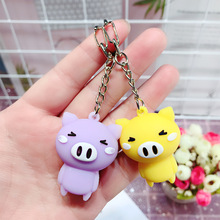 2019 New Fashion Cute Pig Keychains Key Ring Cartoon Animal Silicone Chain Creative Women Girls Car Bag Phone Rings