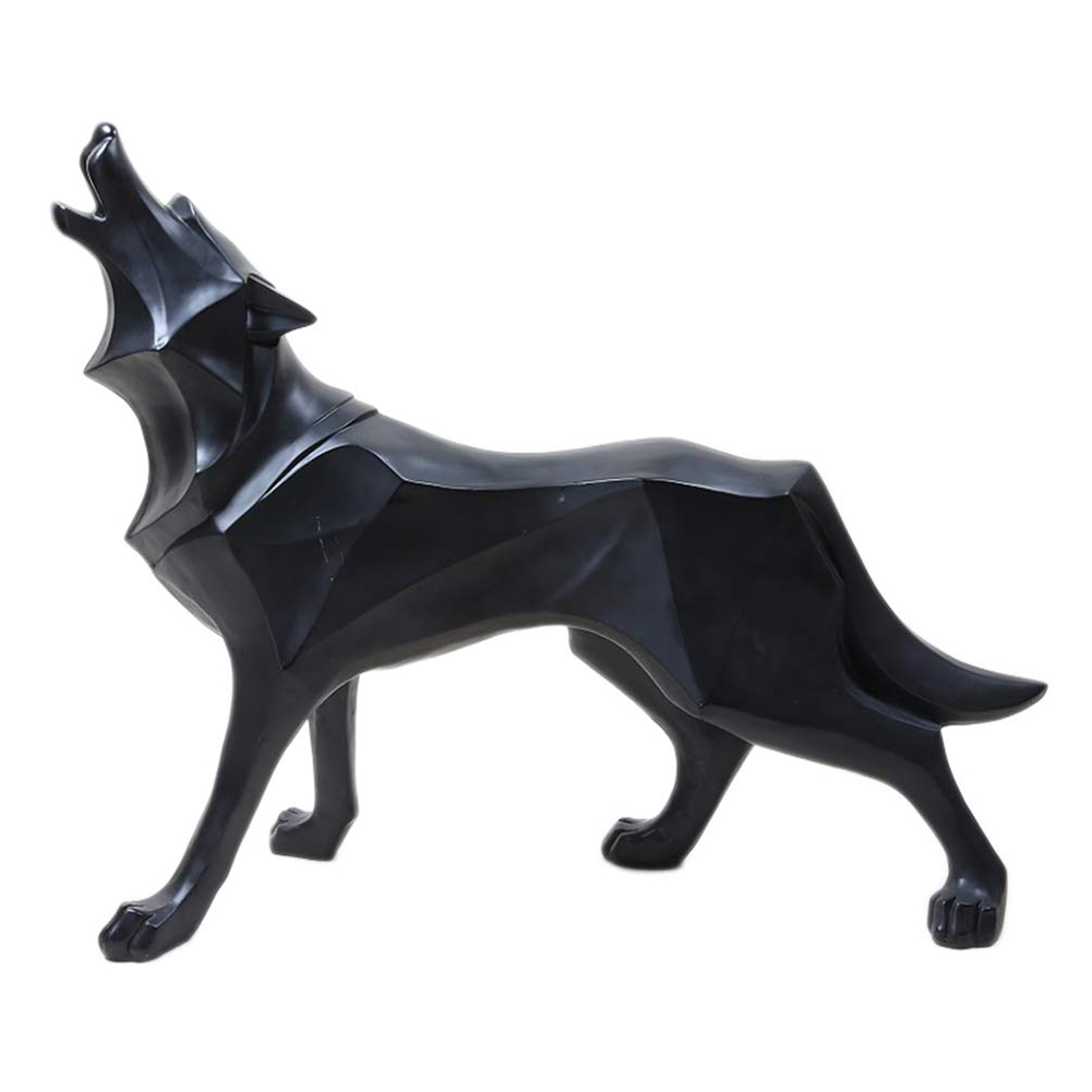 Geometric Ornament Table Craft Gift Portable Decoration Standing Home Art Resin Nordic Style Wolf Statue Simulation Animal