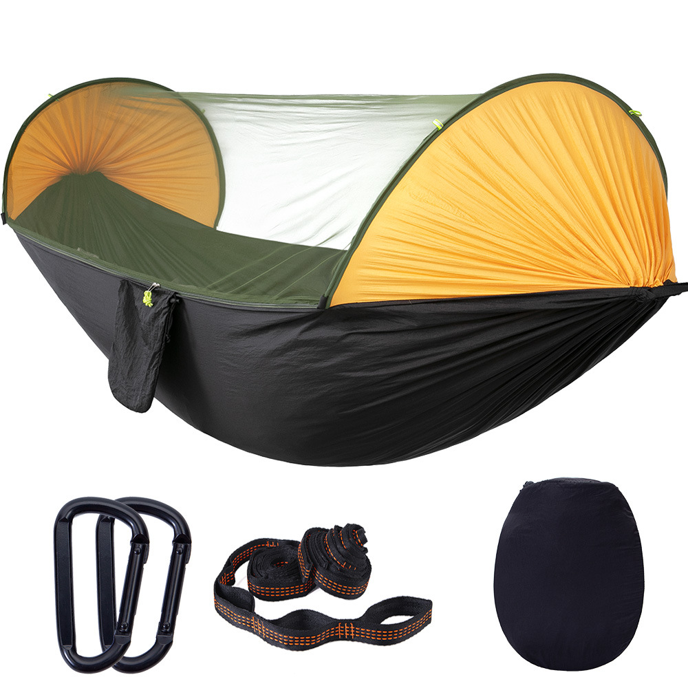 Outdoor Mosquito Net Hammock Automatic Quick Open Portable Double Hammock Camouflage Travel Hiking Hanging Bed Camping Tent