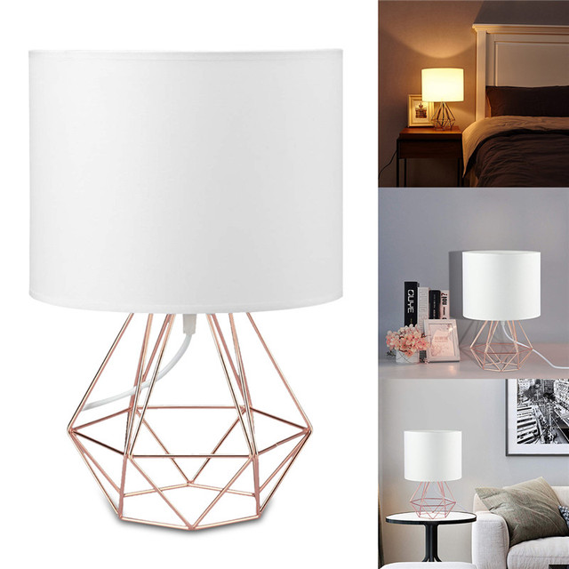 E27 Geometric Table Lamps Decorative Retro Drum Shade Light Bedside Home Lighting for Bedroom Living Room Office Lamp US Plug