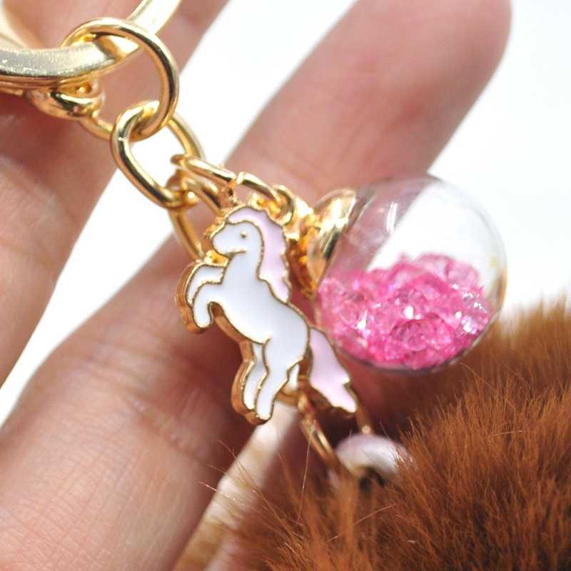 Fluffy Unicorn Keychain Pom Pom Pele Chaveiro Bola de Pêlo de Coelho Cabelo Falso Bugiganga Para O Saco Do Carro Anel Chave de Ouro llaveros chaveiro