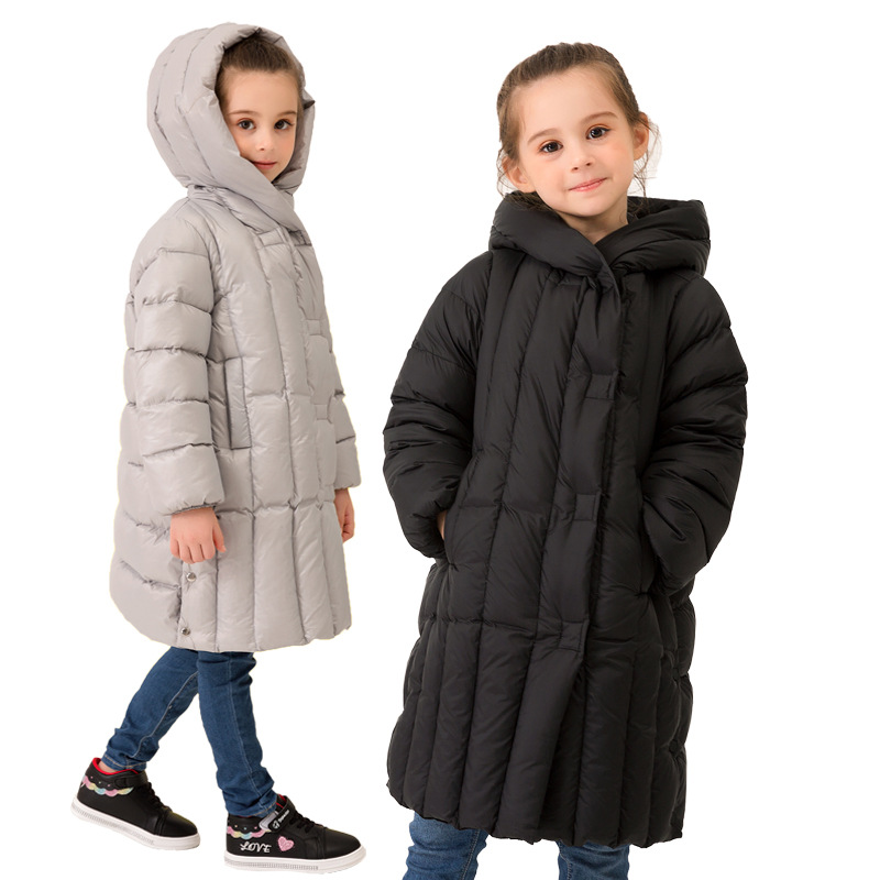 Пуховые пальто для девочек зимняя куртка 2019 г. Новая детская одежда для подростков детская длинная плотная теплая верхняя одежда с капюшоно