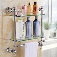 Bathroom Shelf Bath Shower Shelf Bath Glass Shelf Bathroom Corner shelf Wall Mounted Chrome/Gold Brass Kitchen Storage holder