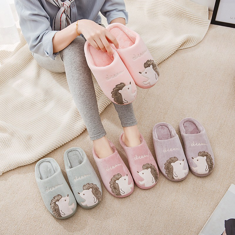 Women Slippers Cartoon Hedgehog squirrel Unicorn Slippers Winter Non-slip Fur House Indoor Outdoor Plush Ladies Shoes Men Couple 1
