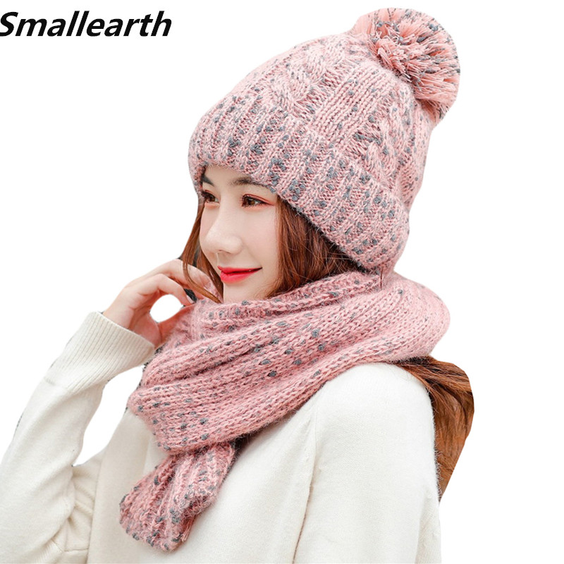 2019 Winter Women Knitted Hat Scarf Sets Plus Velvet Thick Hats Female Warm Hat Long Scarf Set Girls Windproof Snow Cap Beanies