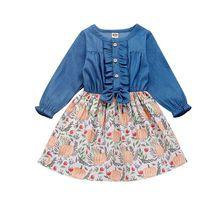 Autumn Casual Baby Kids Girls Long Sleeve Floral Dresses Pumpkin Pattern Patchwork Denim Children Fashion