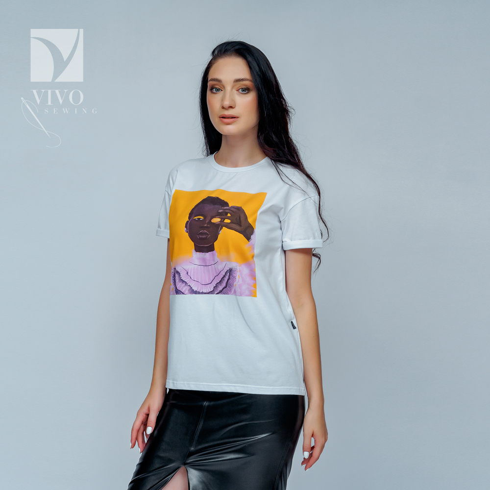 T-Shirts Vivostyle 1S300 for women for females clothing top t-shirt with print Cotton White Casual